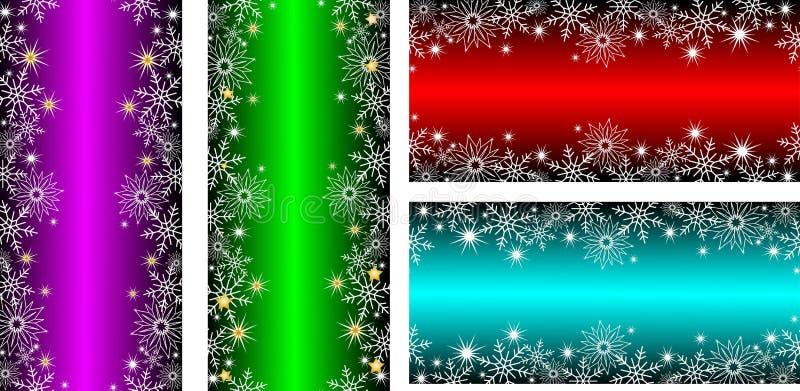 Φωτεινά κάθετα κόκκινα και πράσινα εμβλήματα με snowflakes και αστέρια για τα Χριστούγεννα ή το νέο σχέδιο έτους στοκ εικόνα