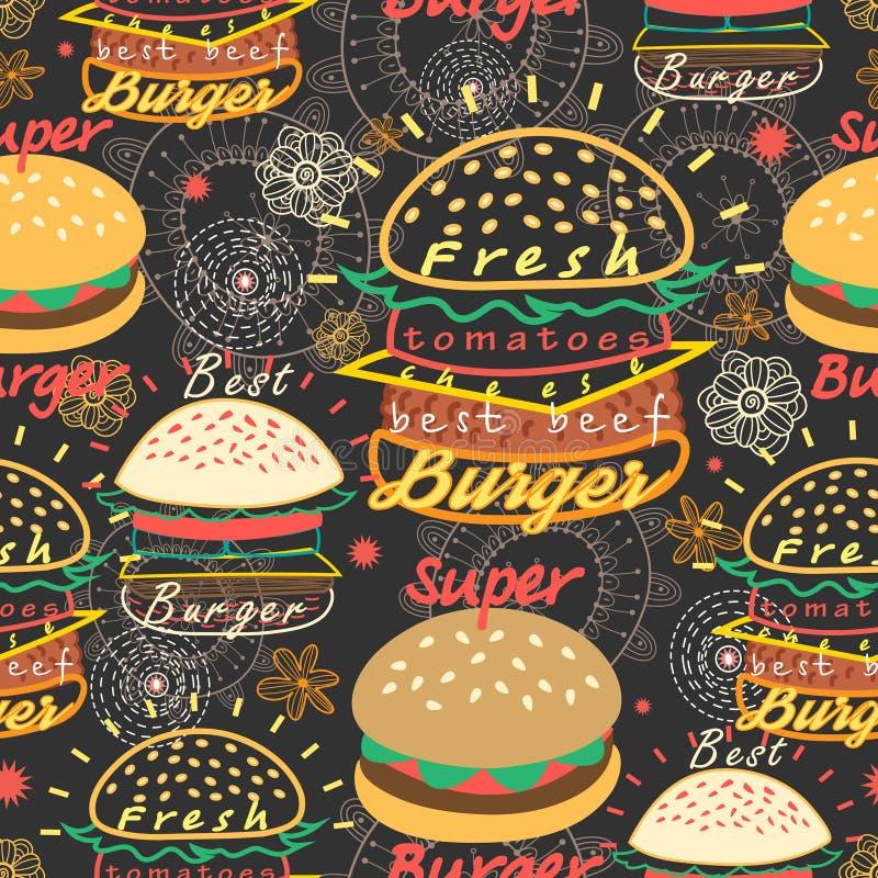 Φωτεινά νόστιμα burgers σχεδίων ελεύθερη απεικόνιση δικαιώματος