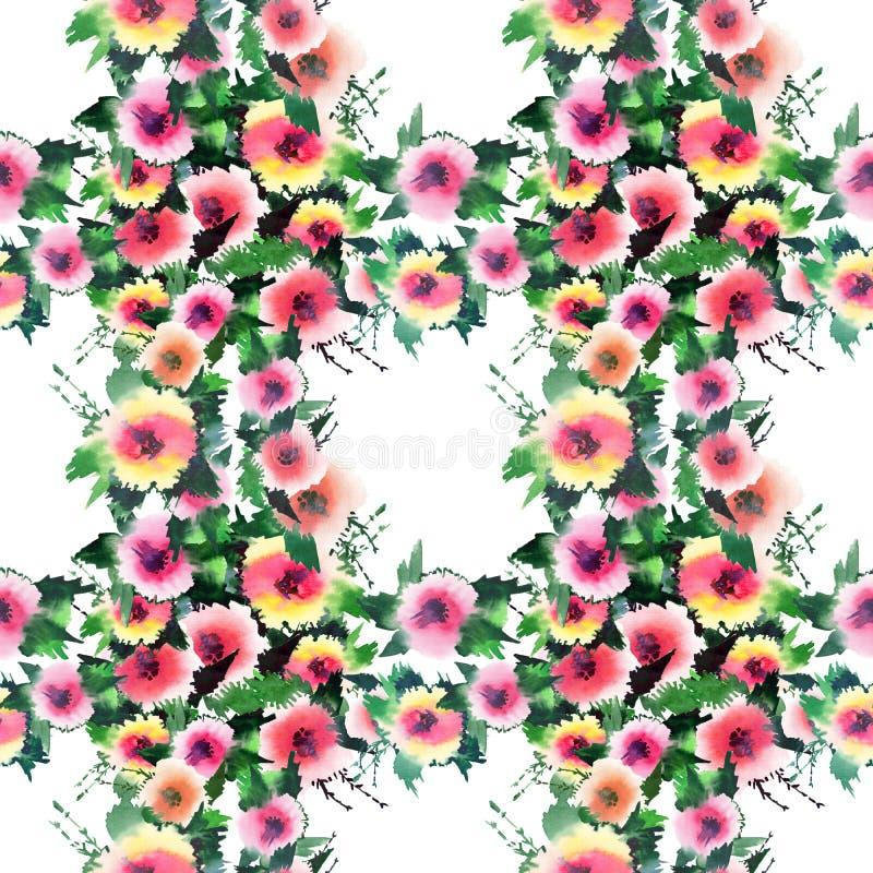 Φωτεινά πανέμορφα θαυμάσια ευγενή κομψά όμορφα περίπλοκα καλά τριαντάφυλλα wildflowers άνοιξη ζωηρόχρωμα με τους οφθαλμούς και το διανυσματική απεικόνιση