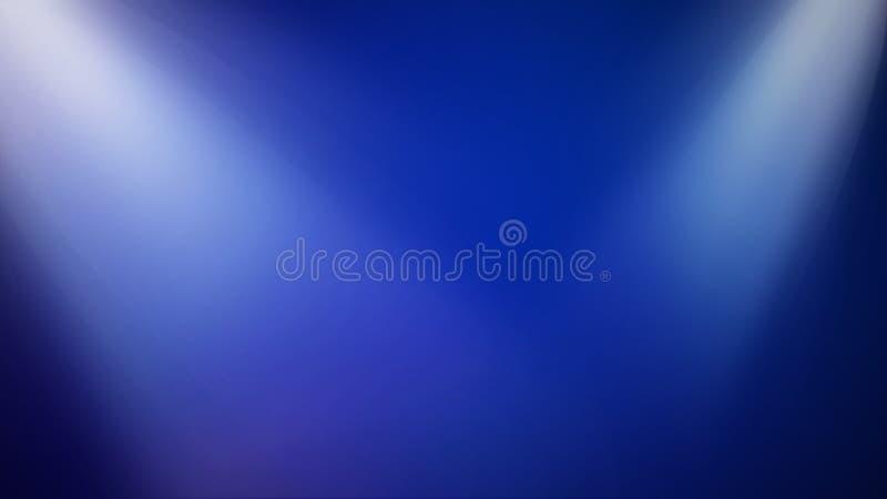 Φωτεινά σκηνικά φω'τα στο μπλε υπόβαθρο - τυποποιημένη λεπτή μπλε απεικόνιση ψυχαγωγίας διανυσματική απεικόνιση