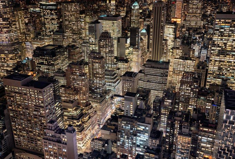 Φωτεινά φω'τα πόλεων της πόλης της Νέας Υόρκης, ΗΠΑ στοκ εικόνες με δικαίωμα ελεύθερης χρήσης