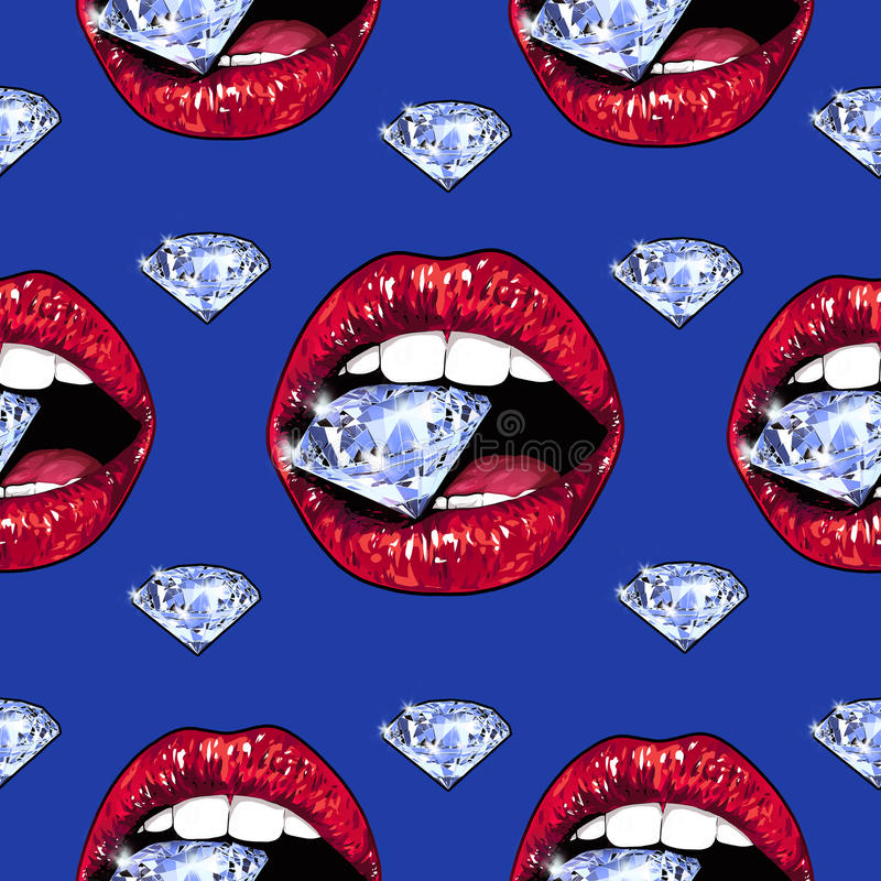 Φωτεινά χείλια που κρατούν ένα σπινθήρισμα λαμπρό πρότυπο άνευ ραφής Ρεαλιστικό γραφικό σχέδιο Υπόβαθρο Μπλε χρώμα ελεύθερη απεικόνιση δικαιώματος