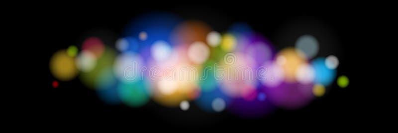 Φωτεινά χρωματισμένα φω'τα στο μαύρο υπόβαθρο διανυσματική απεικόνιση