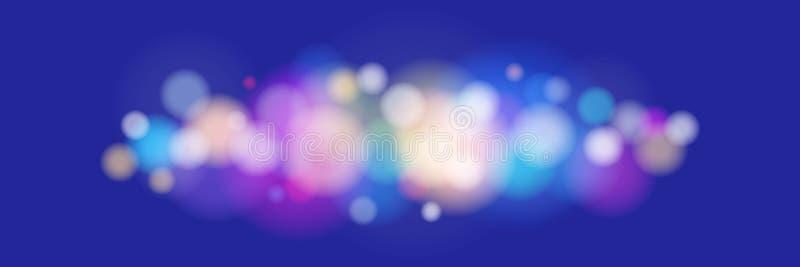 Φωτεινά χρωματισμένα φω'τα στο μπλε υπόβαθρο απεικόνιση αποθεμάτων