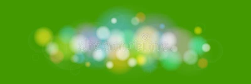 Φωτεινά χρωματισμένα φω'τα στο πράσινο υπόβαθρο διανυσματική απεικόνιση