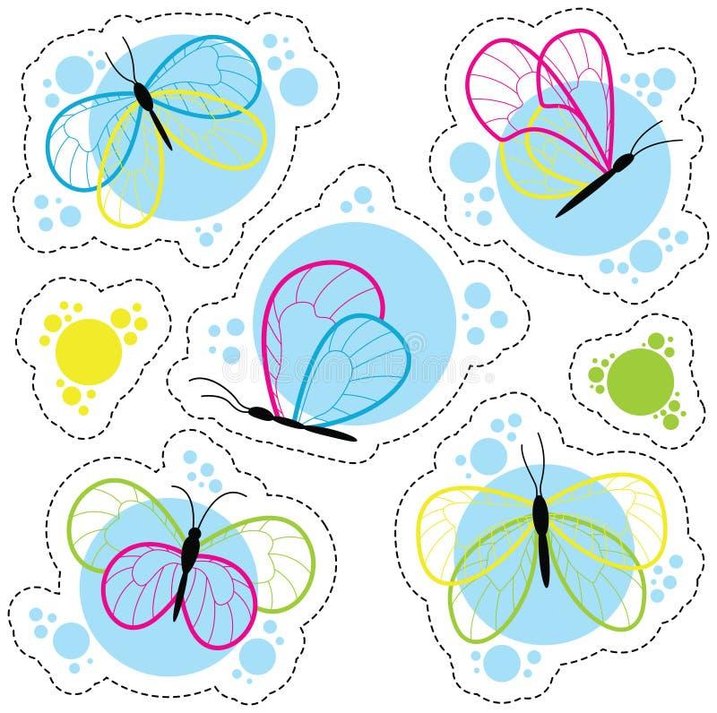Φωτεινές ζωηρόχρωμες διανυσματικές αυτοκόλλητες ετικέττες πεταλούδων καθορισμένες ελεύθερη απεικόνιση δικαιώματος