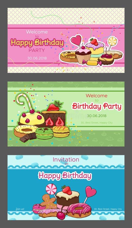 Φωτεινές κάρτες πρόσκλησης γιορτής γενεθλίων οριζόντιες ελεύθερη απεικόνιση δικαιώματος