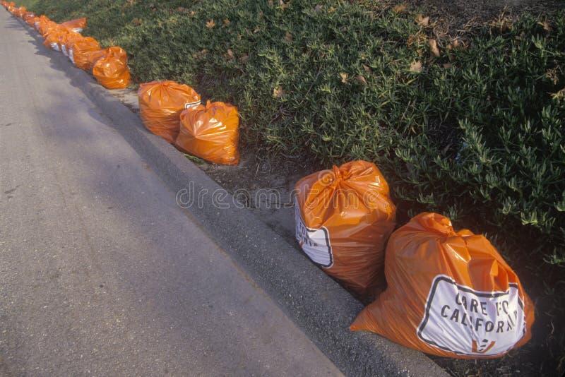 Φωτεινές πορτοκαλιές τσάντες απορριμμάτων κατά μήκος ενός οδοστρώματος που περιμένει την επανάλειψη στοκ εικόνες με δικαίωμα ελεύθερης χρήσης