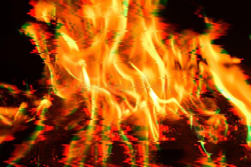 Φωτεινές φλόγες στην επίδραση δυσλειτουργίας στοκ εικόνα