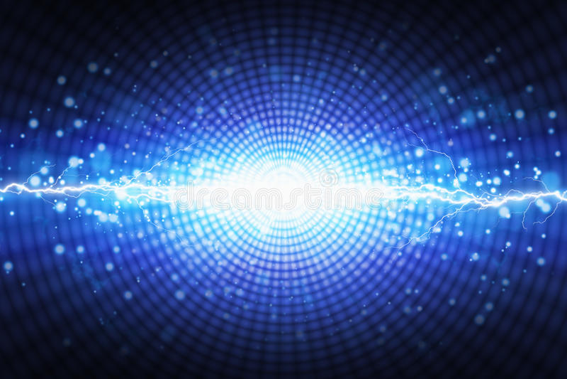 Φωτεινή λάμψη του μπλε φωτός στο ακτινωτό υπόβαθρο, φωτεινό lightnin απεικόνιση αποθεμάτων