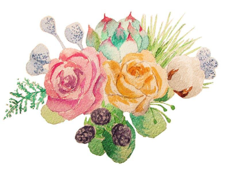 Φωτεινή ανθοδέσμη των λουλουδιών στο watercolor στοκ εικόνες με δικαίωμα ελεύθερης χρήσης