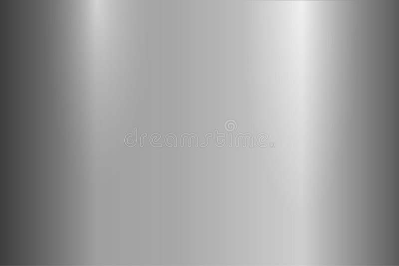 Φωτεινή γκρίζα μεταλλική σύσταση Λαμπρή γυαλισμένη επιφάνεια μετάλλων Διανυσματική ανασκόπηση απεικόνιση αποθεμάτων