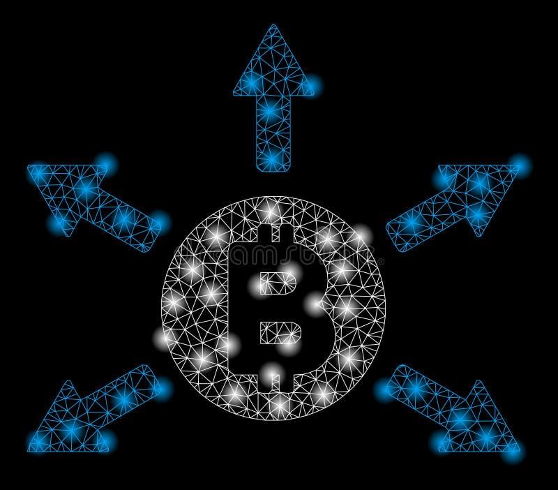 Φωτεινή εκπομπή Bitcoin σφαγίων πλέγματος με τα σημεία λάμψης απεικόνιση αποθεμάτων
