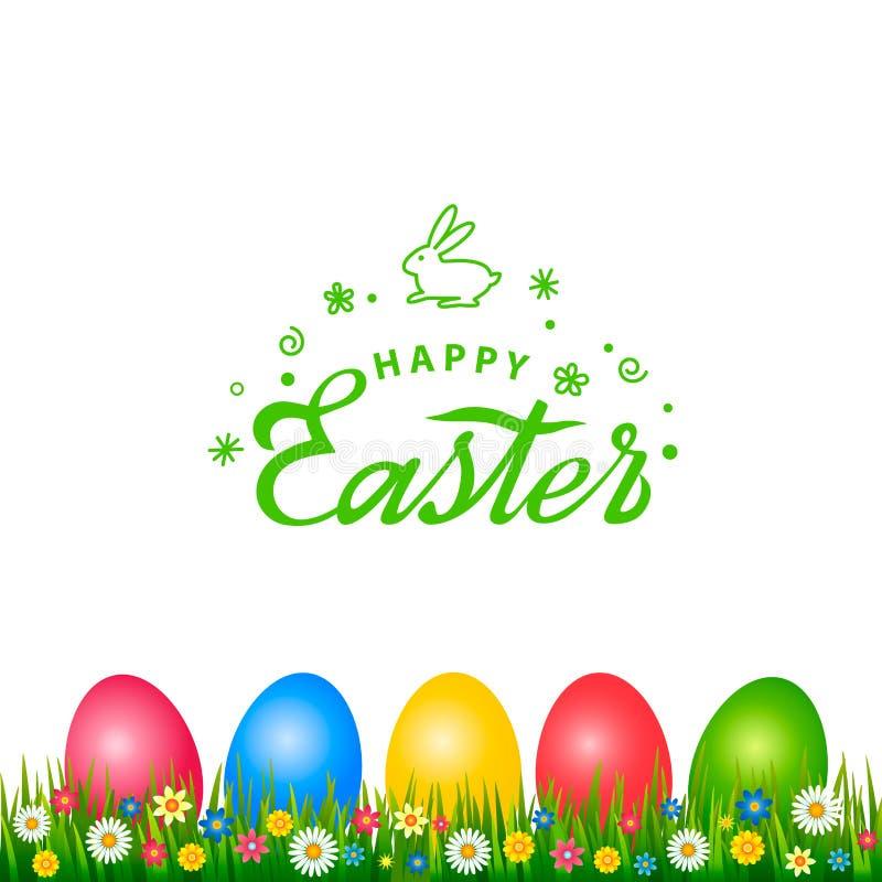 Φωτεινή ευχετήρια κάρτα με τη χειρόγραφη επιγραφή ευτυχές Πάσχα και το λογότυπο λαγουδάκι Πάσχας Αναδρομική εγγραφή Ένα σύνολο απεικόνιση αποθεμάτων