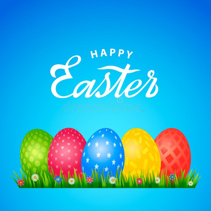 Φωτεινή ευχετήρια κάρτα με τη χειρόγραφη επιγραφή ευτυχές Πάσχα Αναδρομική εγγραφή Ένα σύνολο αυγών Πάσχας με διαφορετικό απεικόνιση αποθεμάτων