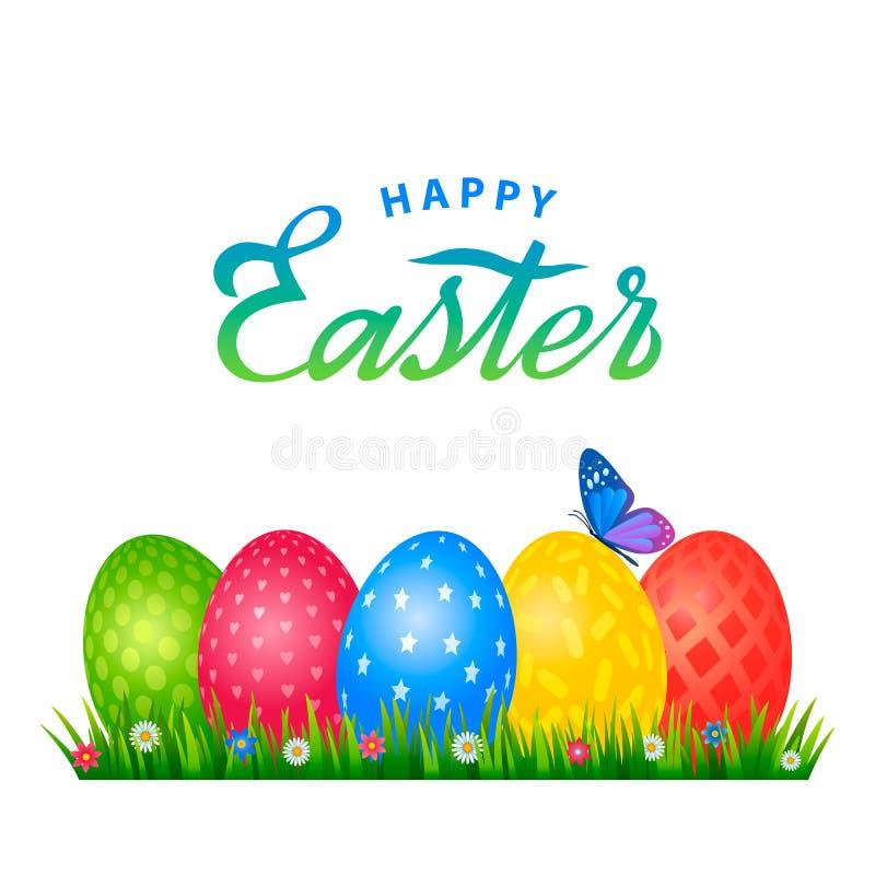 Φωτεινή ευχετήρια κάρτα με τη χειρόγραφη επιγραφή ευτυχές Πάσχα Αναδρομική εγγραφή Ένα σύνολο αυγών Πάσχας με διαφορετικό διανυσματική απεικόνιση