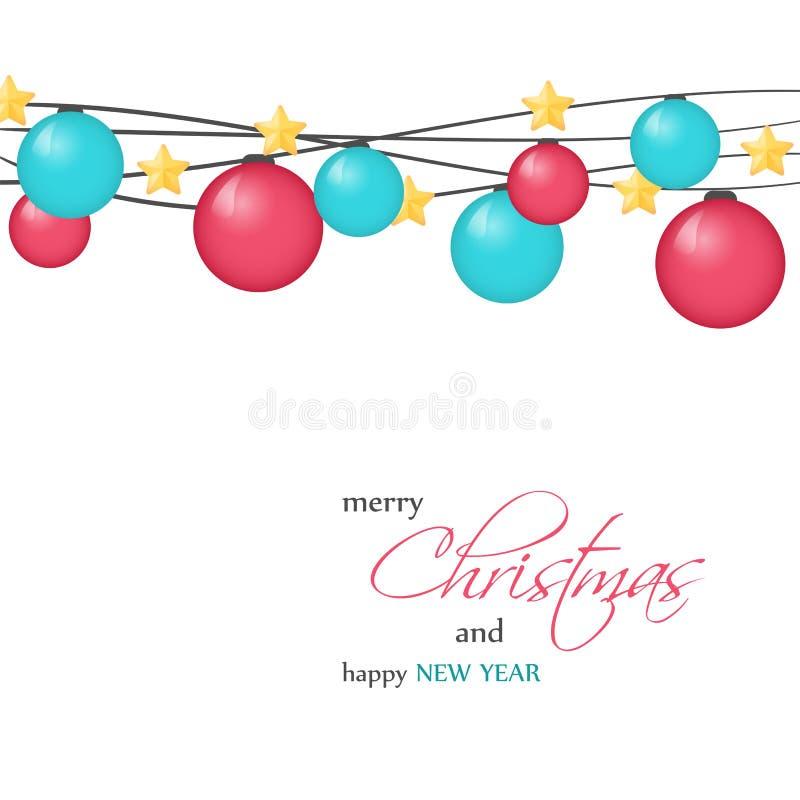 Φωτεινή ευχετήρια κάρτα Χριστουγέννων, υπόβαθρο, αφίσα στο μινιμαλιστικό ύφος Διανυσματική απεικόνιση για τη συλλογή διακοπών στοκ φωτογραφία με δικαίωμα ελεύθερης χρήσης