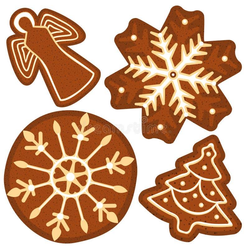 Φωτεινή ζωηρόχρωμη αφίσα με το δέντρο ψωμιού πιπεροριζών Χριστουγέννων, άγγελος, snowflake διανυσματική απεικόνιση