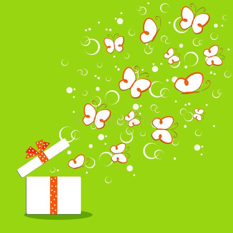 Φωτεινή ζωηρόχρωμη πεταλούδα σχεδίων doodle υποβάθρου χαριτωμένη σε μια πράσινη φύση eco διαφήμισης πώλησης θερινού θέματος άνοιξ διανυσματική απεικόνιση