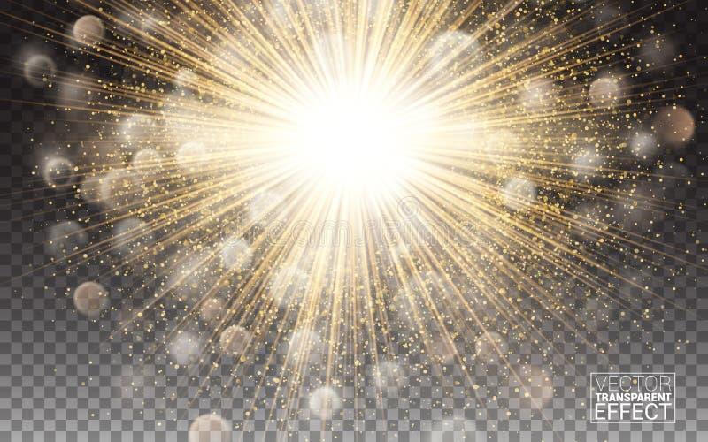 φωτεινή διακόσμηση φλογών επίδρασης φω'των με τα σπινθηρίσματα Η χρυσή πυράκτωσης έκρηξη έκρηξης κύκλων ελαφριά διαφανής λάμπει έ διανυσματική απεικόνιση