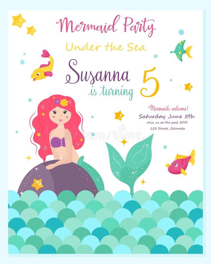 Φωτεινή κάρτα πρόσκλησης με τη χαριτωμένη γοργόνα νεράιδων ελεύθερη απεικόνιση δικαιώματος