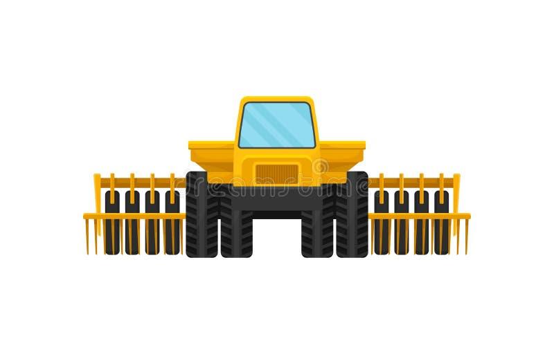 Φωτεινή κίτρινη θεριστική μηχανή, μπροστινή άποψη Βαριά γεωργικά μηχανήματα Αγροτικός εξοπλισμός για την εργασία για τους τομείς  ελεύθερη απεικόνιση δικαιώματος