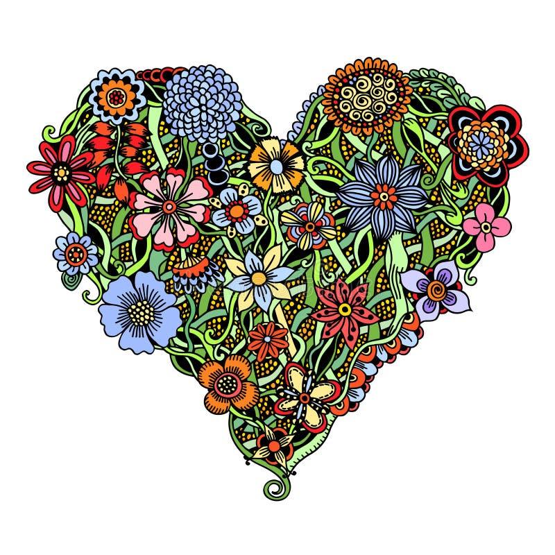 Φωτεινή καρδιά λουλουδιών διανυσματική απεικόνιση