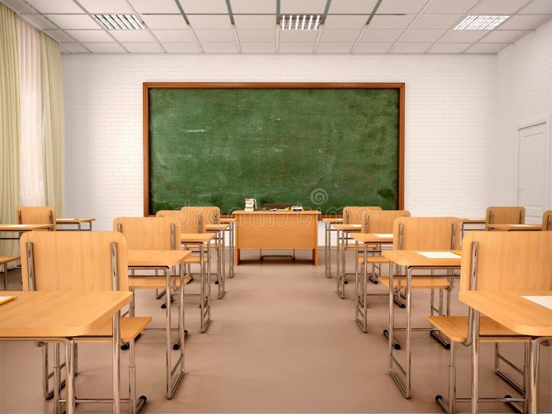Φωτεινή κενή τάξη για τα μαθήματα και την κατάρτιση ελεύθερη απεικόνιση δικαιώματος