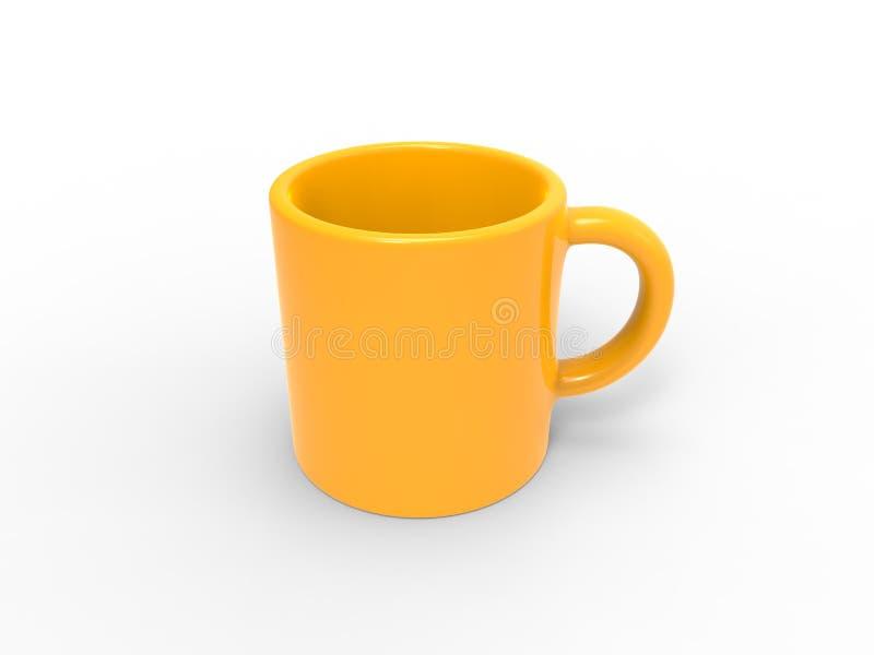 Φωτεινή κούπα καφέ ήλιων κίτρινη - κορυφή κάτω από την άποψη διανυσματική απεικόνιση