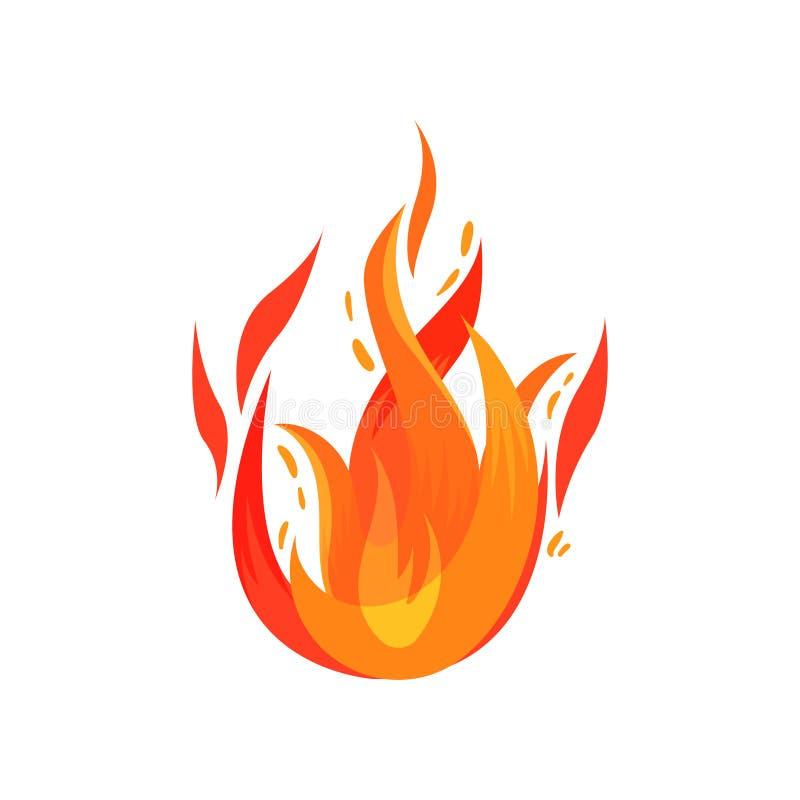 Φωτεινή κόκκινος-πορτοκαλιά φλογερή φλόγα Καίγοντας πυρά προσκόπων Εικονίδιο κινούμενων σχεδίων της καυτής καμμένος πυρκαγιάς Επί απεικόνιση αποθεμάτων