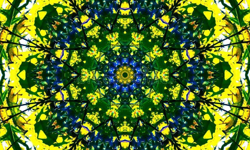 Φωτεινή μπλε και κίτρινη τέχνη mandala διανυσματική απεικόνιση