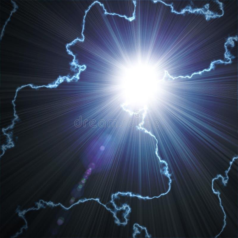Φωτεινή μπλε λάμψη με την αστραπή απεικόνιση αποθεμάτων