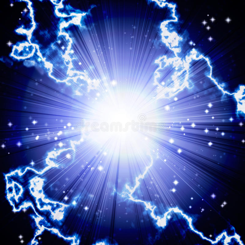 Φωτεινή μπλε λάμψη με την αστραπή διανυσματική απεικόνιση