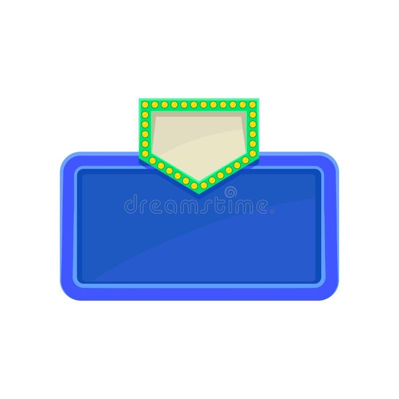 Φωτεινή μπλε πινακίδα με το πράσινο βέλος Σημάδι με τη θέση για το μήνυμά σας Επίπεδο διάνυσμα για τον ιστοχώρο, έμβλημα διαφήμισ ελεύθερη απεικόνιση δικαιώματος