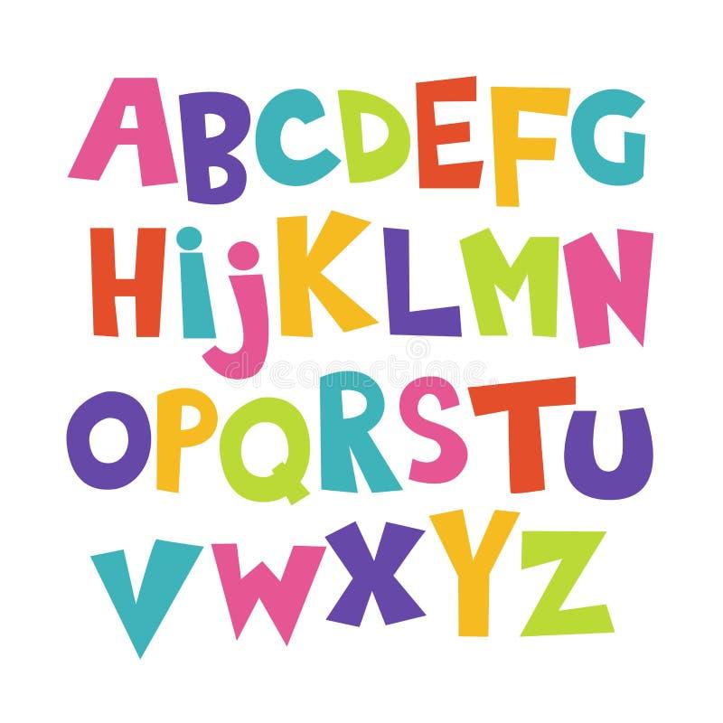 Φωτεινή πηγή παιδιών γκράφιτι κινούμενων σχεδίων ζωηρόχρωμη κωμική doodle, αλφάβητο επίσης corel σύρετε το διάνυσμα απεικόνισης απεικόνιση αποθεμάτων