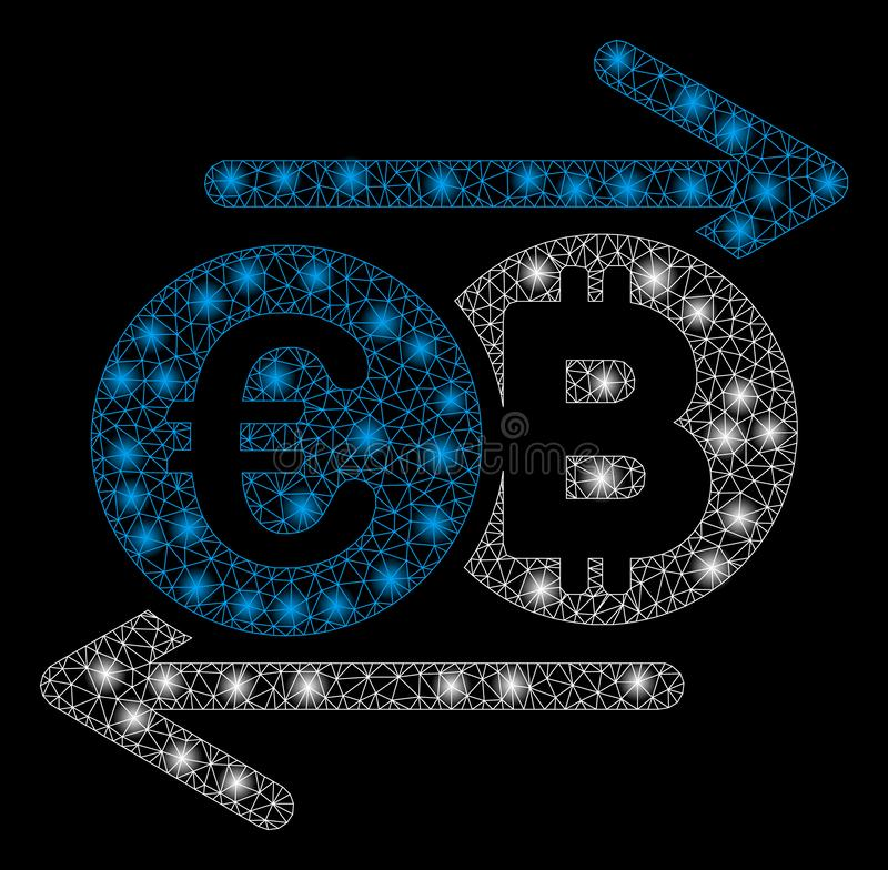 Φωτεινή πλέγματος καλωδίων αλλαγή Bitcoin πλαισίων ευρο- με τα σημεία φλογών απεικόνιση αποθεμάτων