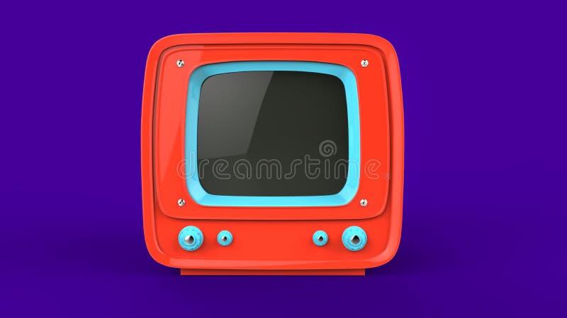 Φωτεινή πορτοκαλιά αναδρομική συσκευή τηλεόρασης διανυσματική απεικόνιση