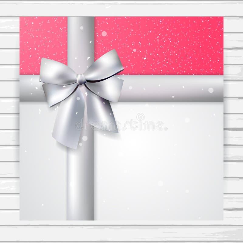 Φωτεινή ροζ τετραγωνική κάρτα με την ασημένια κορδέλλα απεικόνιση αποθεμάτων