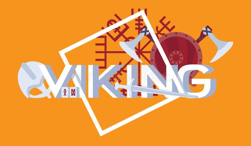 Φωτεινή σκηνή με την τρισδιάστατη επιστολή Βίκινγκ και τα εξαρτήματα πολεμιστών στο μεσαιωνικό ύφος Ασπίδα, άξονες, ρούνοι, κράνο διανυσματική απεικόνιση