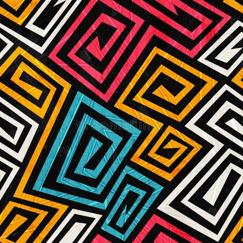 Φωτεινή σπειροειδής άνευ ραφής σύσταση χρώματος με την επίδραση grunge απεικόνιση αποθεμάτων