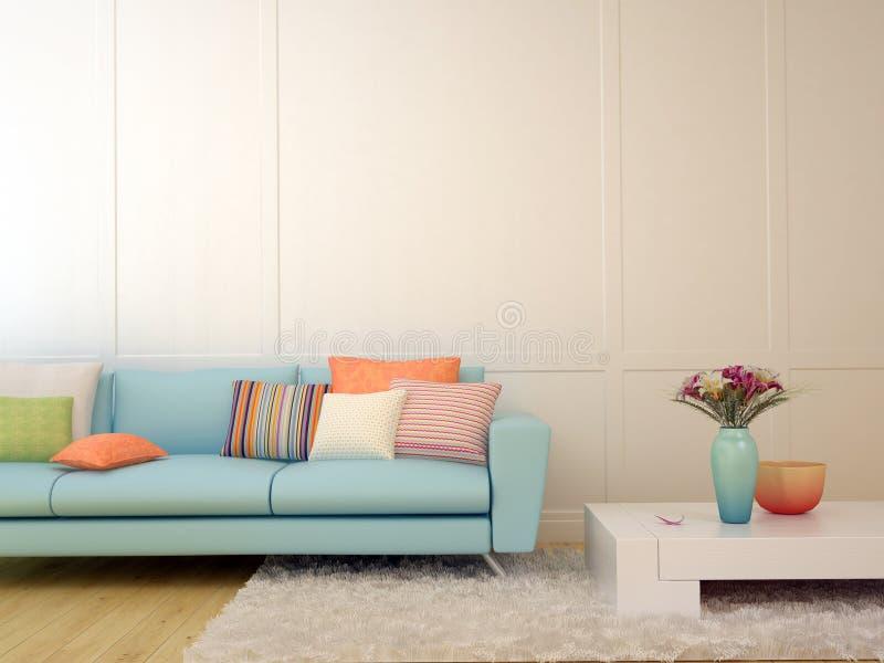 Μπλε καναπές με τα ζωηρόχρωμα μαξιλάρια και ένα άσπρο τραπεζάκι σαλονιού στοκ εικόνα