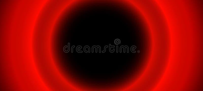 Φωτεινοί κόκκινοι θολωμένοι καμμένος κύκλοι στο μαύρο υπόβαθρο Αφηρημένη απεικόνιση με τα λαμπρά φω'τα Νέο θαμπάδων γύρω από τα α διανυσματική απεικόνιση