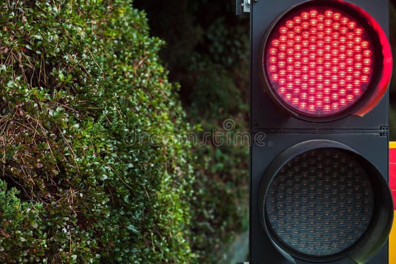 Φωτεινοί σηματοδότες των σύγχρονων οδηγήσεων με το κόκκινο σήμα στάσεων στοκ φωτογραφία με δικαίωμα ελεύθερης χρήσης