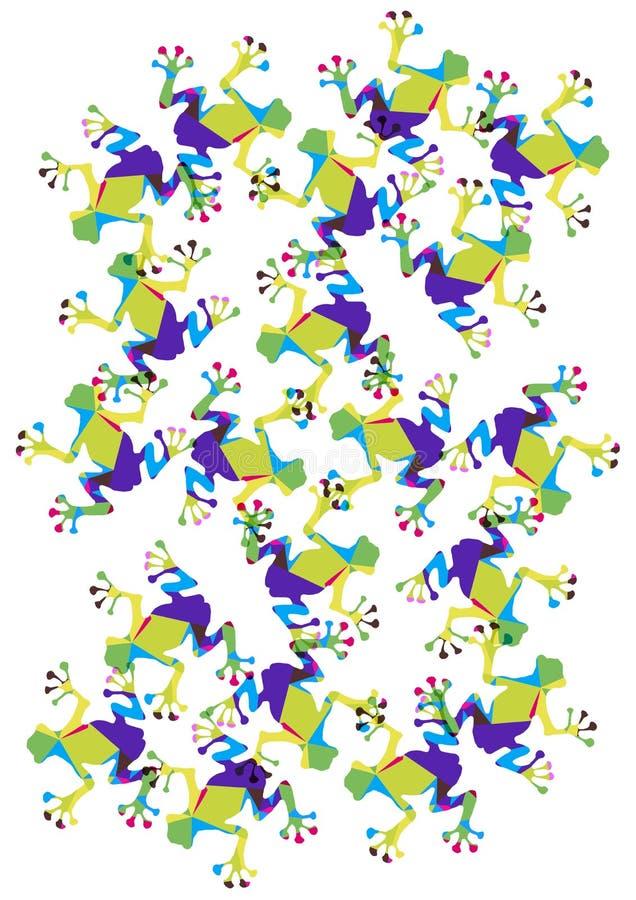 Φωτεινοί τρελλοί βάτραχοι πολυγώνων διανυσματική απεικόνιση