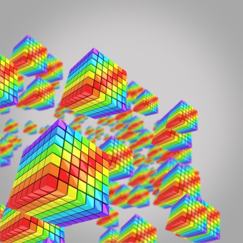 Φωτεινοί τόξο-χρωματισμένοι κύβοι στο γκρίζο υπόβαθρο στοκ εικόνες με δικαίωμα ελεύθερης χρήσης