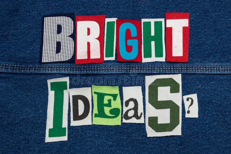 ΦΩΤΕΙΝΟ κολάζ λέξης των cIdea από τις αποκόπτως επιστολές μπλουζών στο τζιν, καινοτομία στοκ φωτογραφίες με δικαίωμα ελεύθερης χρήσης
