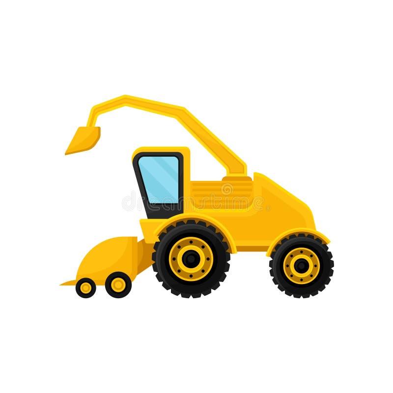 Φωτεινός κίτρινος συνδυάζει Επαγγελματικός αγροτικός εξοπλισμός Σύγχρονο γεωργικό όχημα Επίπεδο διανυσματικό στοιχείο για τη διαφ απεικόνιση αποθεμάτων