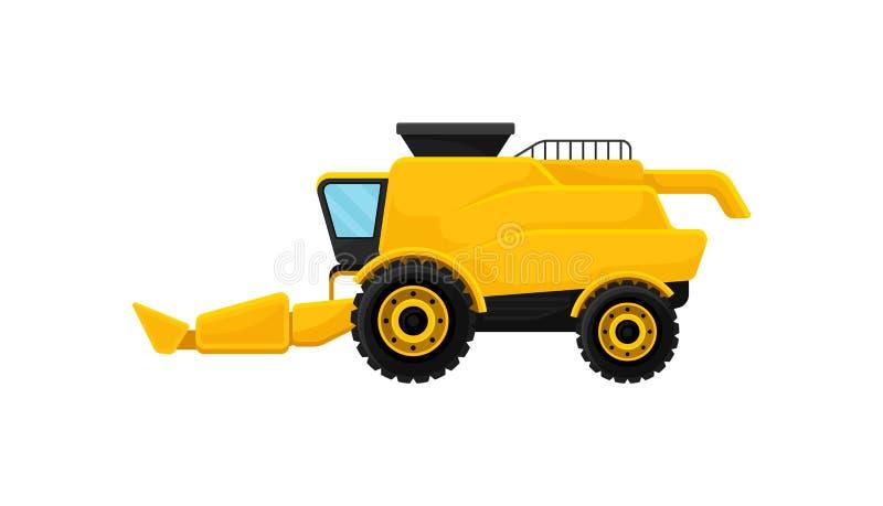 Φωτεινός κίτρινος συνδυάζει τη θεριστική μηχανή γεωργικά μηχανήματα που seeder η άνοιξη Βιομηχανικός αγροτικός εξοπλισμός Επίπεδο ελεύθερη απεικόνιση δικαιώματος