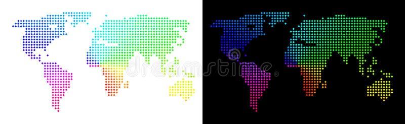 Φωτεινός παγκόσμιος χάρτης Pixelated διανυσματική απεικόνιση