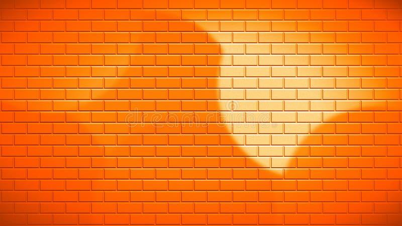 Φωτεινός πορτοκαλής τουβλότοιχος στο φως του ήλιου στοκ φωτογραφίες με δικαίωμα ελεύθερης χρήσης